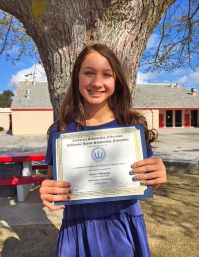 2017-18 CJSF Huhn Award North Recipient Jenna Villapania, Sycamore Middle School, CJSF Adviser Liz Ayon
