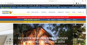 Screenshot of website menus - csf-cjsf.org