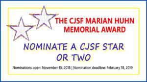 CJSF Marian Huhn Award nominations open Nov 15, 2018