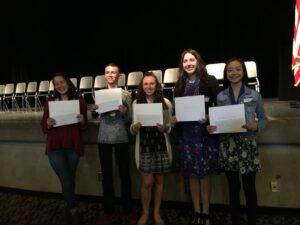 North Region Huhn Award Finalists 2019-Avery Weagant, Kendal Witt, Madison Rogers, Taylor Nelson, Summer Sun