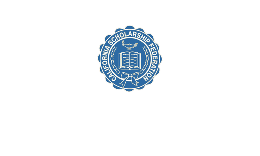 Outstanding Sealbearers text with California Scholarship Federation logo in white on blue