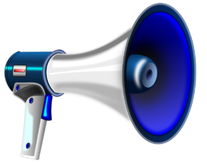 silver and blue megaphone