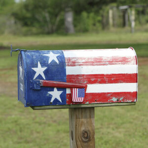 U.S. Mailbox with stars and stripes