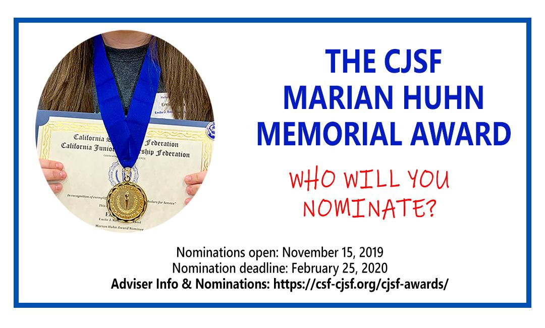 Marian Huhn Award 2019-20 - Who will you nominate?