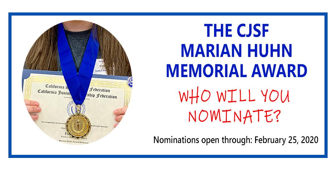 2020 Marian Huhn Award nominations are open