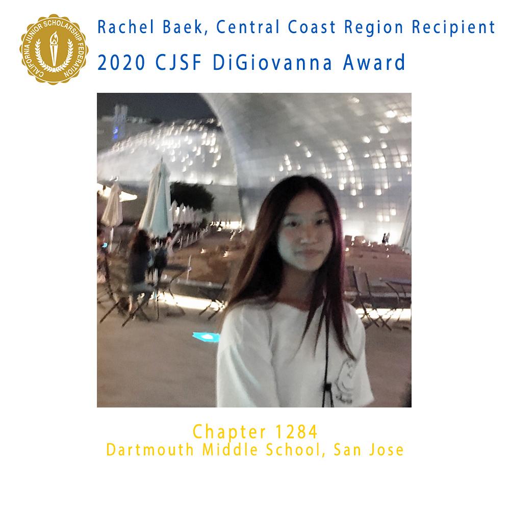 Rachel Baek, 2020 CJSF DiGiovanna Award Central Coast Region Recipient