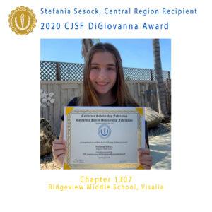 Stefania Sesock, 2020 CJSF DiGiovanna Award Central Region Recipient