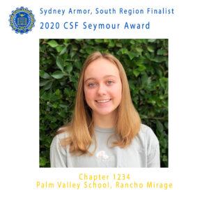 Sydney Armor, 2020 CSF Seymour Award South Region Finalist