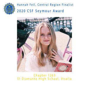 Hannah Feil, 2020 CSF Seymour Award Central Region Finalist