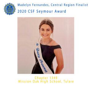 Madelyn Fernandes, 2020 CSF Seymour Award Central Region Finalist