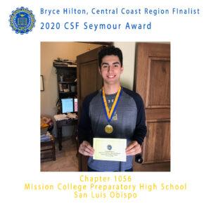 Bryce HIlton, 2020 CSF Seymour Award Central Coast Region Finalist