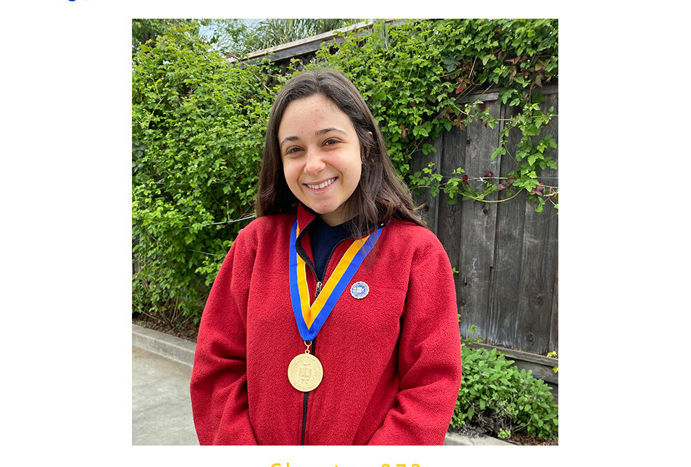 Sara Sandri, 2020 CSF Seymour Award Central Coast Region Finalist