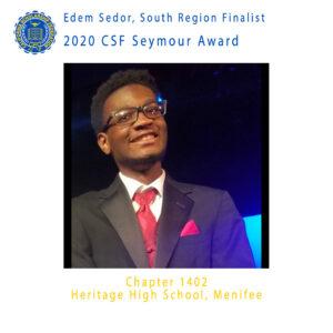 Edem Sedor, 2020 CSF Seymour Award South Region Finalist