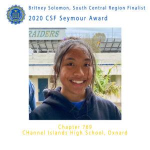 Britney Solomon, 2020 CSF Seymour Award Finalist South Central Region