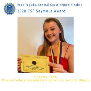 Veda Yaguda, 2020 CSF Seymour Award Central Coast Region Finalist