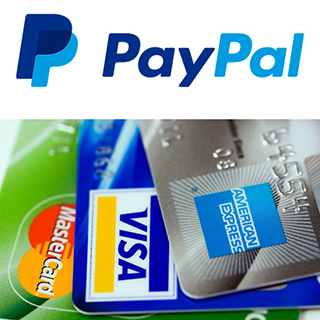 PayPal log and credit cards