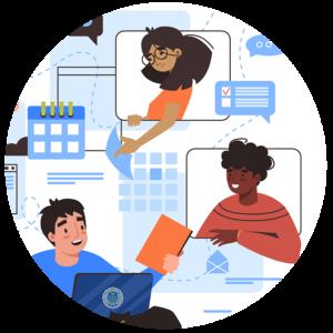 cartoon of kids interacting online