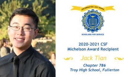 Jack Tian, 2020-2021 Michelson Award Recipient