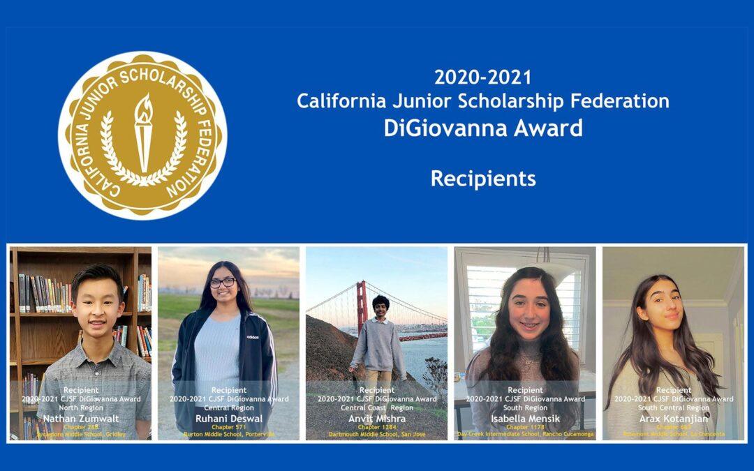 2020-2021 DiGiovanna Award recipients