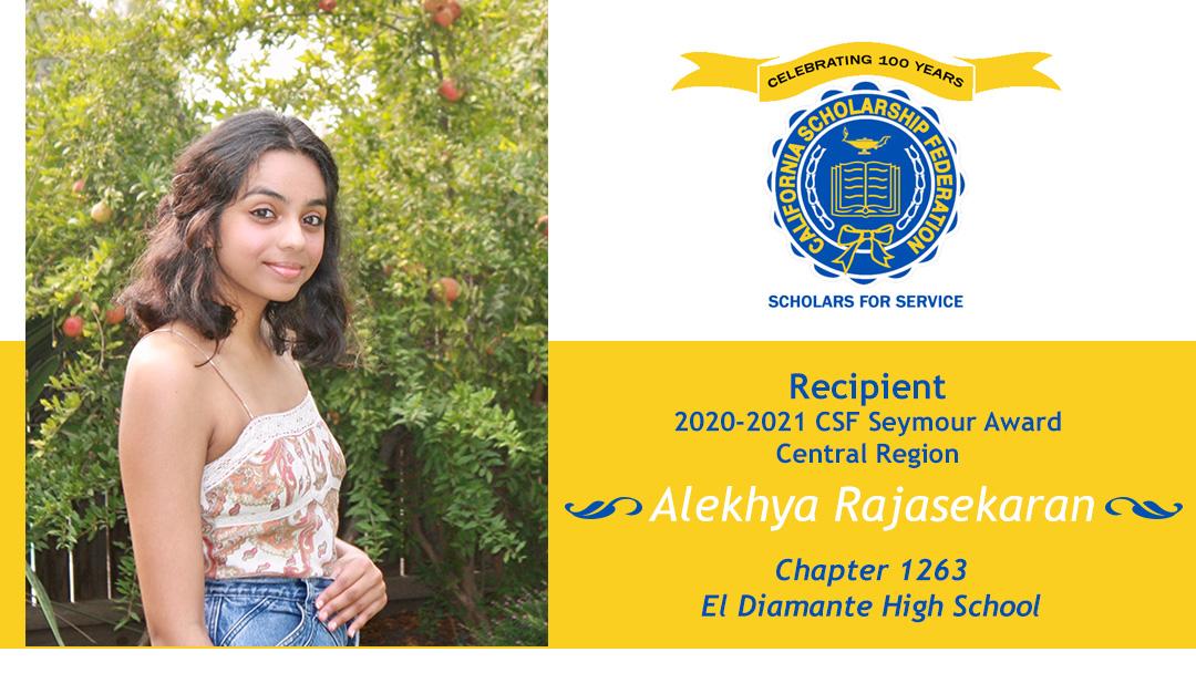 Alekhya Rajasekaran Seymour Award 2020-2021 Central Region Recipient