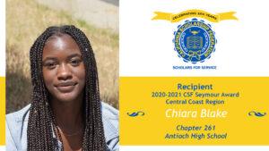 Chiara Blake Seymour Award 2020-2021 Central Coast Region Recipient