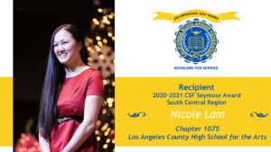 Nicole Lam CSF South 2020-2021 Seymour Award Central Region Recipient
