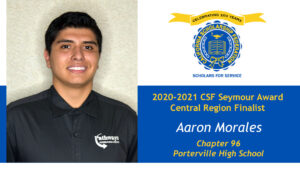Aaron Morales CSF Seymour Award 2020-2021 Central Region Finalist