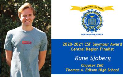 Kane Sjoberg Seymour Award 2020-2021 Central Region Finalist