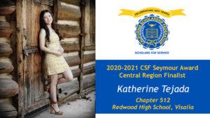 Katherine Tejada is a Seymour Award 2020-2021 Central Region Finalist