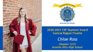 Chloe Ross is a Seymour Award 2020-2021 Central Region Finalist