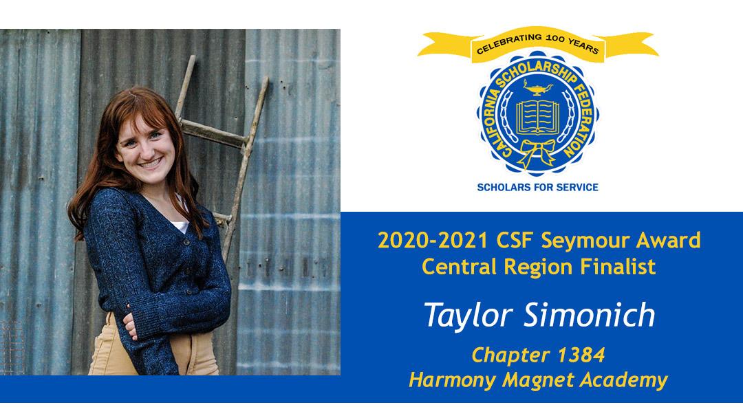 Taylor Simonich is a Seymour Award 2020-2021 Central Region Finalist