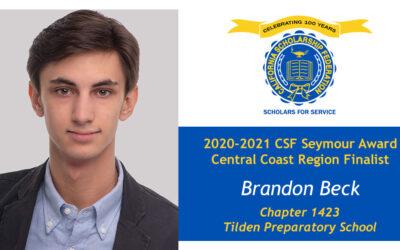 Brandon Beck Seymour Award 2020-2021 Central Coast Region Finalist