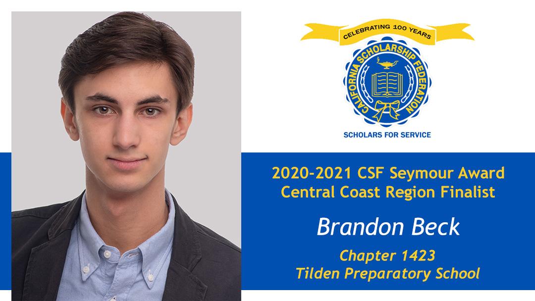 Brandon Beck is a Seymour Award 2020-2021 Central Coast Region Finalist