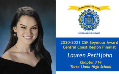 Lauren Pettijohn Seymour Award 2020-2021 Central Coast Region Finalist