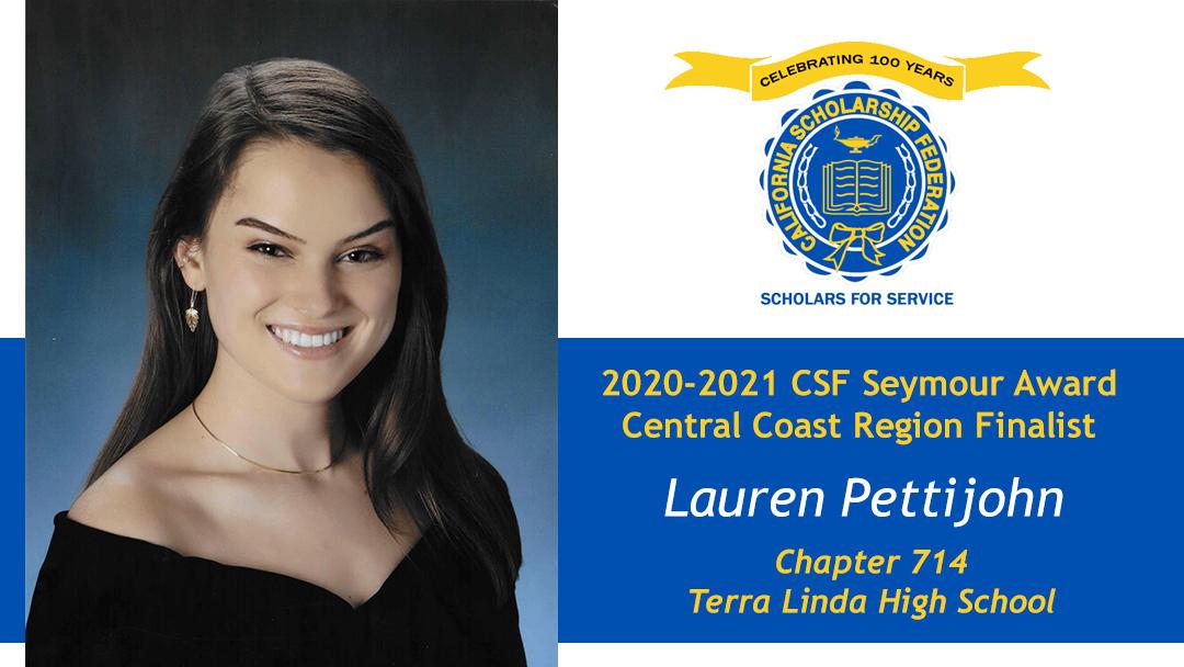Lauren Pettijohn is a Seymour Award 2020-2021 Central Coast Region Finalist