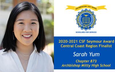 Sarah Yum Seymour Award 2020-2021 Central Coast Region Finalist
