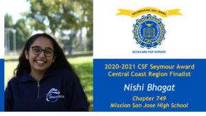 Nishi Bhagat is a Seymour Award 2020-2021 Central Coast Region Finalist