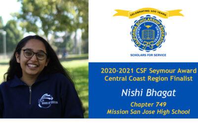 Nishi Bhagat Seymour Award 2020-2021 Central Coast Region Finalist