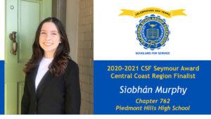 Siobhán Murphy is a Seymour Award 2020-2021 Central Coast Region Finalist