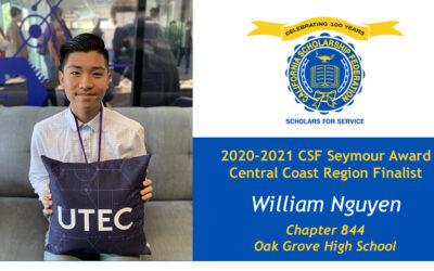William Nguyen Seymour Award 2020-2021 Central Coast Region Finalist