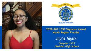Jayla Taylor is a Seymour Award 2020-2021 North Region Finalist