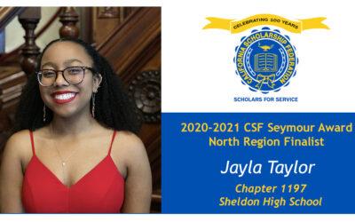 Jayla Taylor Seymour Award 2020-2021 North Region Finalist