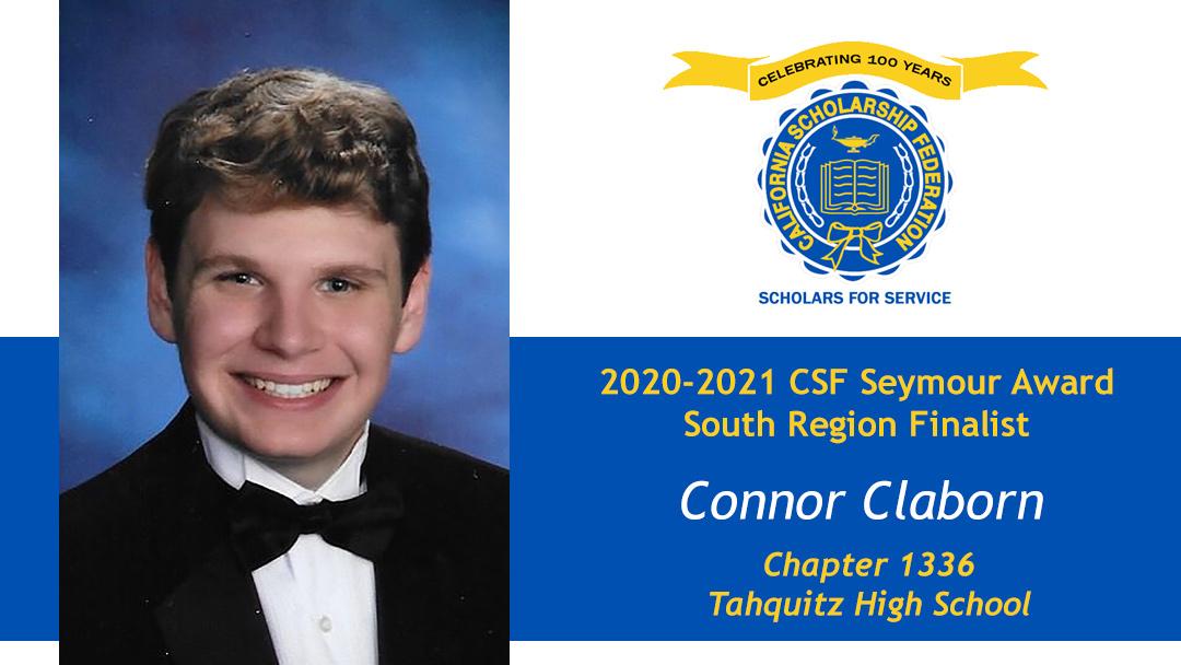 Connor Claborn is a Seymour Award 2020-2021 South Region Finalist