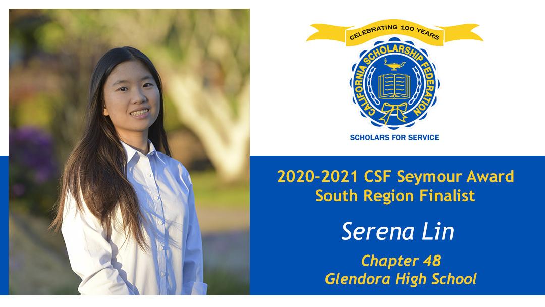 Serena Lin is a Seymour Award 2020-2021 South Region Finalist