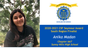 Anika Madan is a Seymour Award 2020-2021 South Region Finalist