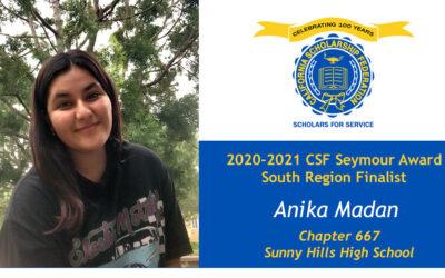 Anika Madan Seymour Award 2020-2021 South Region Finalist