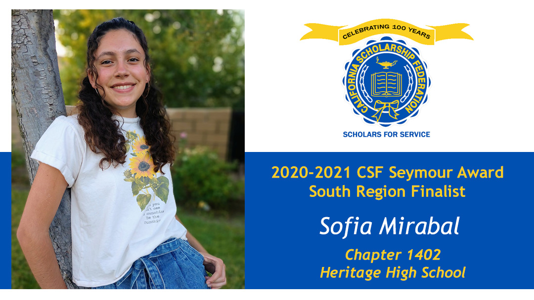 Sofia Mirabal is a Seymour Award 2020-2021 South Region Finalist