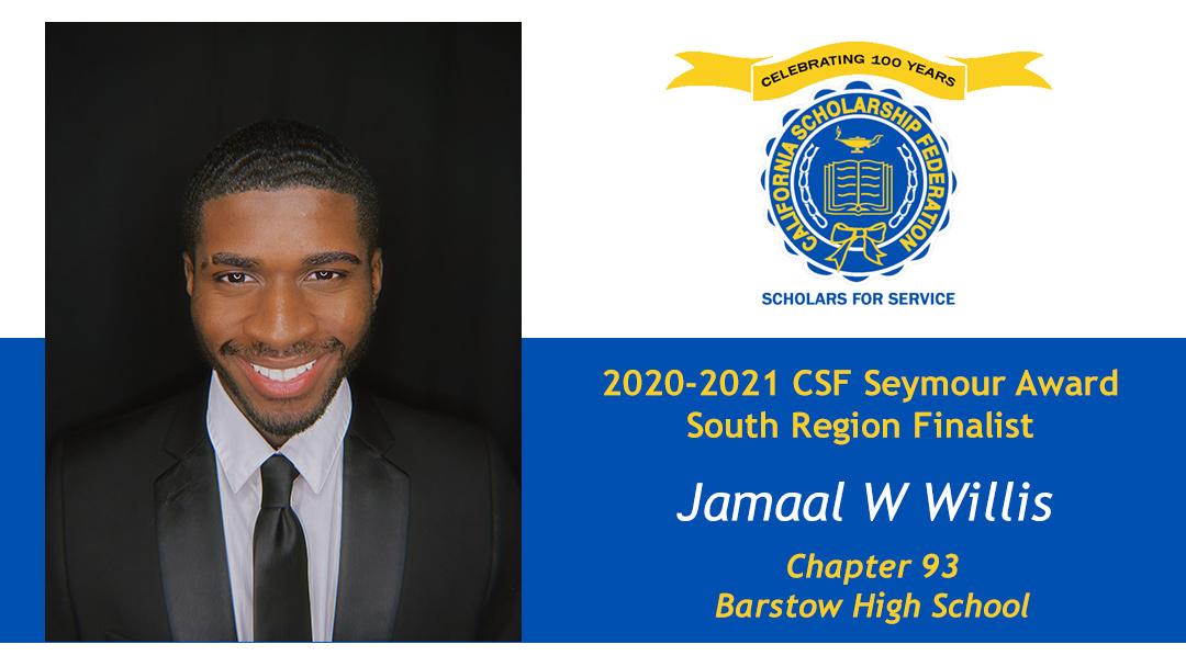 Jamaal WIllis is a Seymour Award 2020-2021 South Region Finalist