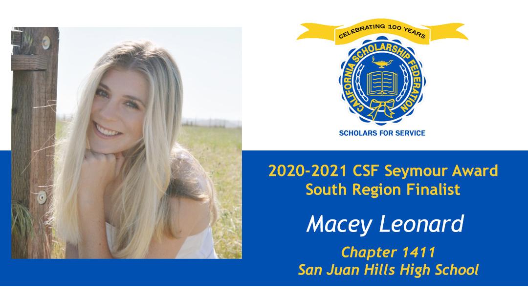 Macey Leonard is a Seymour Award 2020-2021 South Region Finalist