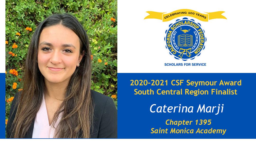 Caterina Marji is a Seymour Award 2020-2021 South Central Region Finalist